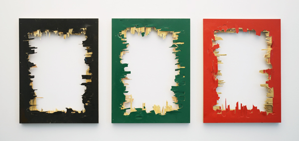 MatthewDeleget_ThirdWorldDemocracy_2014_EnamelSprayPaintOnWoodenPanels_triptych_24x60in_24x18inEach